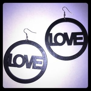 Jewelry - Black Handmade Wooden Love Hoop Earrings